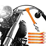 Badass Moto Gear Motorcycle Tie Down Straps, Industrial Grade & Heavy Duty 11000 Lb Limit 3,667 Lb workload, Tiedowns Fit Where Ratchet Straps Won't, For Bikers, ATV, Truck And Trailer, 4 Pack Orange