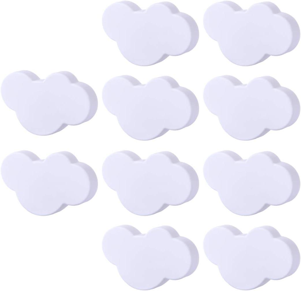 para habitaci/ón Infantil Blanco dise/ño de Nubes GODNECE Juego de 10 pomos para Muebles PVC 7,1x4,7x2,3cm