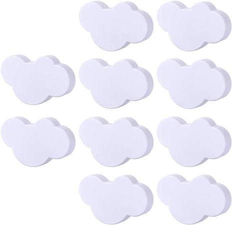 GODNECE Lot de 10 Boutons de Meuble pour Chambre denfant Motif Nuage PVC Gris 7,1x4,7x2,3cm