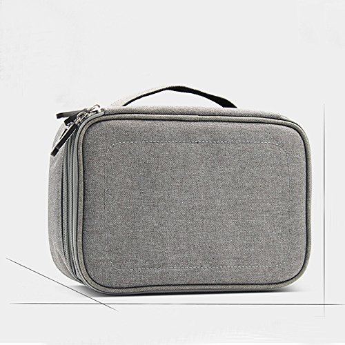 Double Layer Travel Universal Cable Organizer Cases Electronics Accessories Storage Bag for Various USB, Mouse, Earphone,Cable and Charger #81429 (Grey) by Beststar (Image #5)