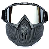 Retro Motorcycle Goggles with Detachable Mask, Airsoft Safety Goggles Mask Tactical Glasses Adjustable Windproof Face Mask Shield for Riding/Skiing/Cycling