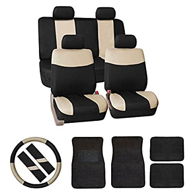 FH GROUP FH-FB056114 FH GROUP FH Group Modern Flat Cloth Car Seat Covers Combo Set: F14403 Carpet Floor Mats, Steering Wheel Cover, Seat Belt Pads Solid Black