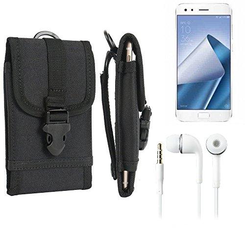bolsa del cinturón / funda para Asus ZenFone 4 Pro, negro + Auriculares | caja del teléfono cubierta protectora bolso - K-S-Trade (TM)