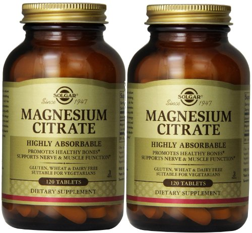 Solgar - Magnesium Citrate Tablets 120 Count, supports nerve and muscle function - 2 Pack