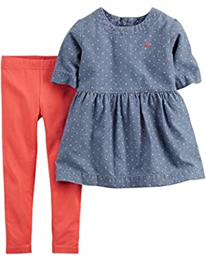 Baby Girls' 2-Piece Top & Legging Set (6 Months, Blue/Coral)