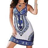 #8: Womens Dashiki African Print Sleeveless Cami Dress Fashion Sexy Mini Bodycon Dress