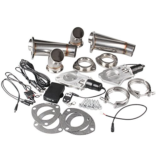 Ruien 3 Inch/76mm 2PCS Electric Exhaust Cutout Y Pipe Valve Motor Kit With Manual Switch And Remoter