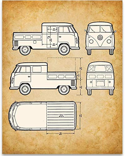 Volkswagen Type 2 Bus Pick-Up Patent - 11x14 Unframed Patent - Great Gift Under $15 for VW Fans