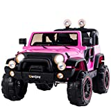 Uenjoy Kids Ride On Cars 12V Children's Electric Cars Motorized Cars for Kids with Remote Control, 3 Speeds, Head Lights, Dual Motors, Pink