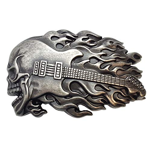Guitar Flame Skull Belt Buckle - Guitar Belt Buckle