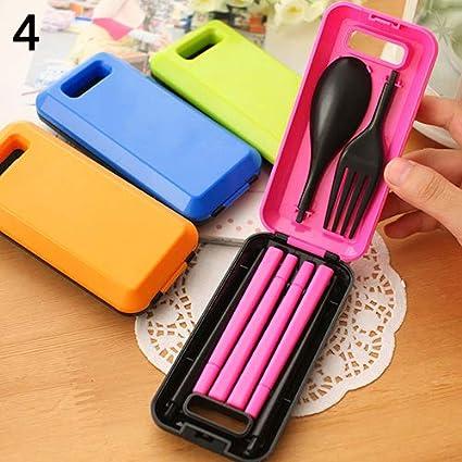 Huhuswwbin Juego de cubiertos de viaje con caja, cuchara, tenedor desmontable, 2 unidades