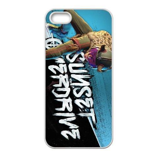 Sunset Overdrive 5 coque iPhone 5 5s cellulaire cas coque de téléphone cas blanche couverture de téléphone portable EEECBCAAN06005