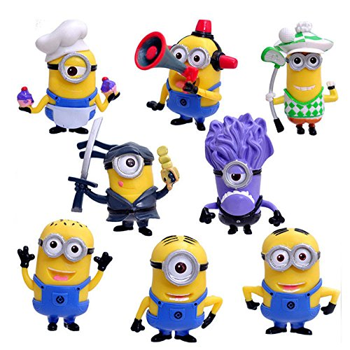 Minions Action Figures Despicable Me Set of 8 Piece Toys Cake Topper by ToysOutlet_USA