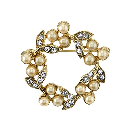 Downton Abbey® Boxed Gold-Tone Simulated Pearl and Crystal Wreath (Pearl Wreath Brooch)
