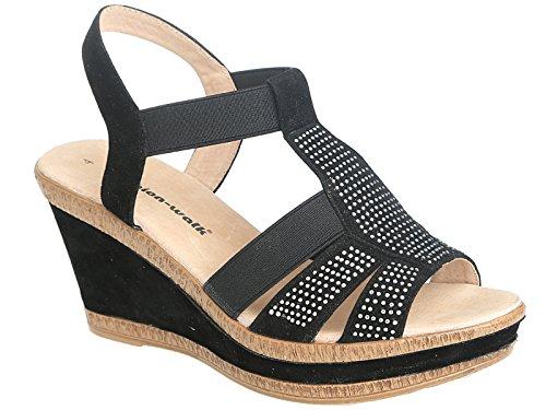 Sandalias de mujer Cushion Walk, de piel, talla 36 a 41 A85 Black