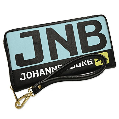 Wallet Clutch Airport code JNB / Johannesburg country: South Africa with Removable Wristlet Strap Neonblond by NEONBLOND