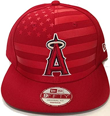 100% Authentic Officially Licensed MLB Los Angeles Angels of Anaheim ' Flag Front ' Special Limited Edition 950 9Fify SnapBack Red Hat Original Fit OSFM