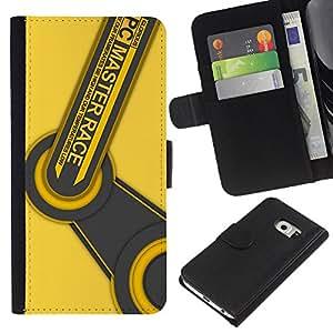 Protector de cuero de la PU de la cubierta del estilo de la carpeta del tirón BY RAYDREAMMM - Samsung Galaxy S6 EDGE - Race Master PC
