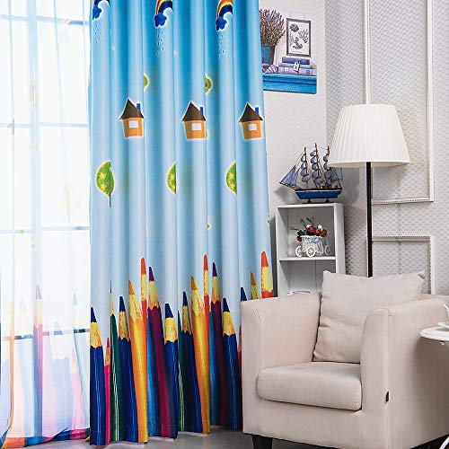 AiFish 1 Panel House Sun Rainbow Tree and Paintbrush or Colored Pencils Printing Kids Room Blackout Curtains Grommet Top Room Darkening Window Curtain Drape Panels for Preschoolers W39 x L84 inch