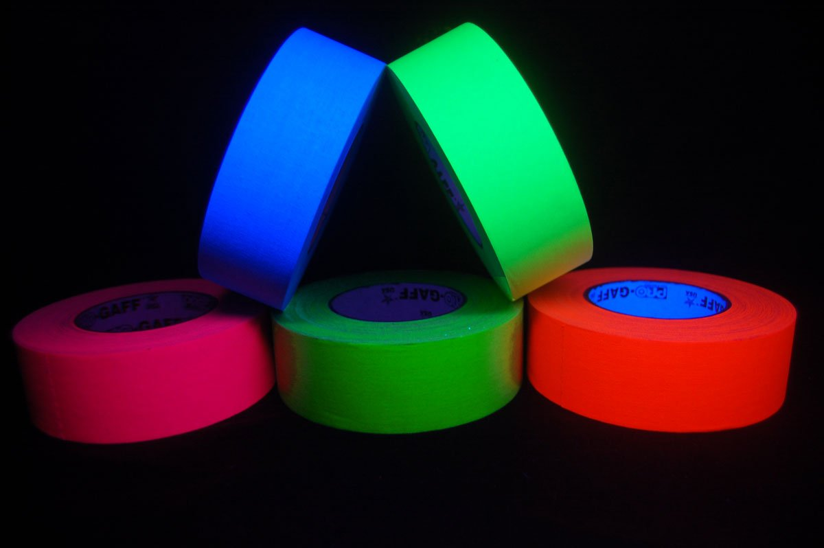 5 Pack 2 Inch Blacklight Reactive Fluorescent Gaffer Tape (50 Yards Per Roll)