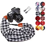 Camera Strap Scarf Vintage Plaid Fabric DSLR Universal Neck Shoulder Belt for Women by Deanoy(Gray)