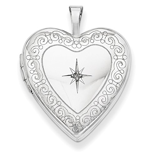 ICE CARATS 14kt 20mm White Gold Side Swirls Diamond Heart Photo Pendant Charm Locket Chain Necklace That Holds Pictures Fine Jewelry Ideal Gifts For Women Gift Set From Heart