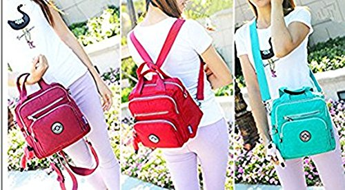 NO Girls Nylon Travel 3 Zipper Cute pocket Multi Backpack Handle Satchel Crossbody Backpack Purse 3 Multifunction Handbag NO Waterproof Top Tote SSrgfxqH