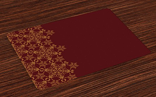 Old Fashioned Fabric - Lunarable Burgundy Place Mats Set of 4, Snowflake Border Ornate Old Fashioned Motifs Winter Christmas Inspiration, Washable Fabric Placemats for Dining Room Kitchen Table Decoration, Burgundy Mustard