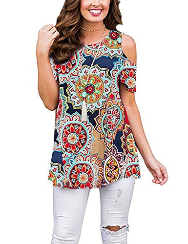 Viracy Womens Hawaiian Shirt, Misses Peasant Tops Casual Floral Tunic Cold Shoulder Bohemian Blouse Loose Fitted Crewneck Comfy Work Office Club Conservative Stretchy Summer Tees Leggings Geometric L