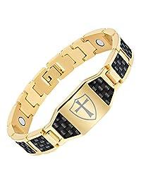 Men's Knights Templar Cross Shield Magnetic Bracelet with Black Carbon Fiber by Willis Judd