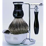 Mr®Clean Shave Complete Wet Set Shaving 4 pieces Set with Safety Razor,Bowl,Stand,Hand Crafted 100% Pure Badger Shaving brush with Black Handel.Great Christmas Gift Thanksgiving gift Idea for Your man, father,husband,boyfriend,brother,boss