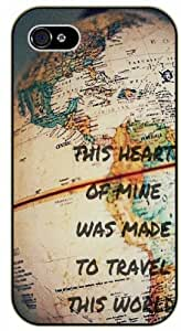 This heart of mine was made to travel this world - Vintage retro world map - Adventurer iPhone 4 4S Black plastic case