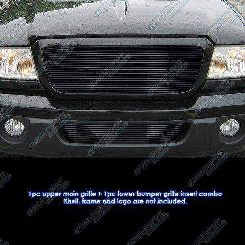 APS Fits 06-11 Ford Ranger Black Billet Grille Combo Insert #F87912H