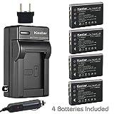 Kastar 4x Battery + Charger for Fujifilm NP-120 FinePix 603, F10, F11, KYOCERA Contax Tvs Digital, RICOH Caplio 300G, Caplio 400G wide, Caplio Pro G3, Caplio R330, Caplio RR10, Caplio RR30 Caplio RX