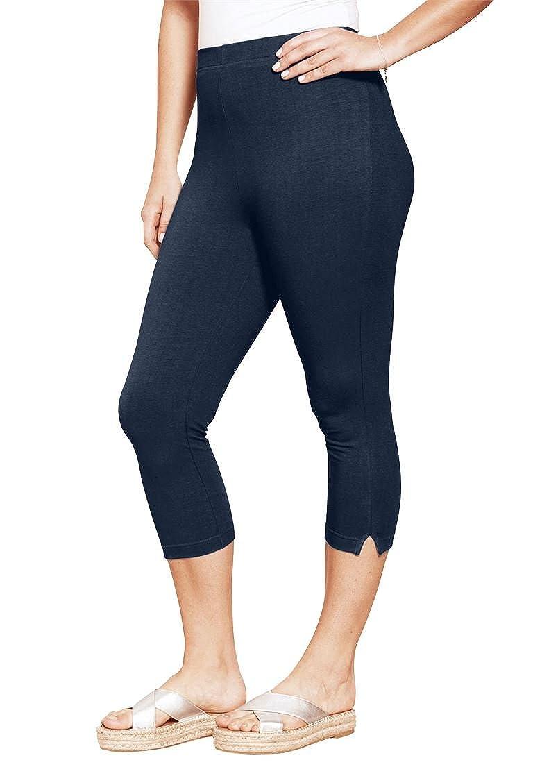 5a3284f08dc Roamans Women s Plus Size Stretch Capri Leggings at Amazon Women s Clothing  store
