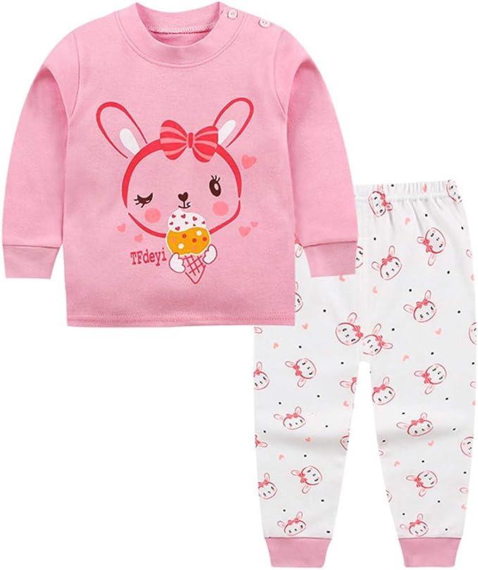 1 Juego De Niños De Dibujos Animados Pijamas Set Niña del Otoño del Resorte del Algodón Pijamas para Niños Conejo Rosa: Amazon.es: Ropa y accesorios