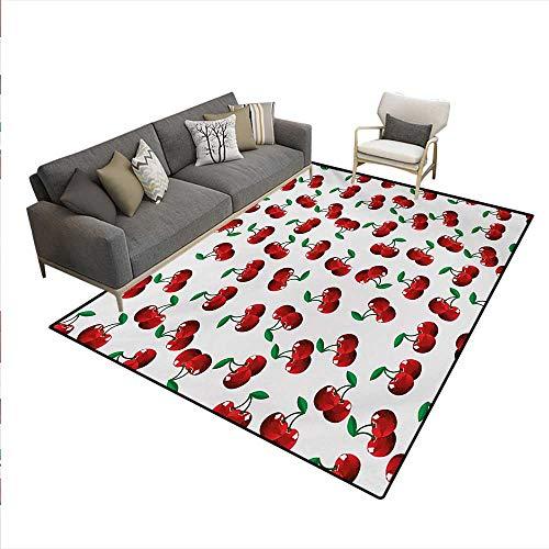 Floor Mat,Vibrant Cherries Vitamin Agriculture Exotic Summer Garden Pattern,3D Printing Area Rug,Ruby Hunter Green Coconut,6