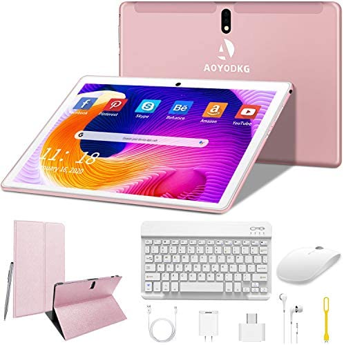 Tablet 10 Inch Android 9.0 Pie Tablets 4G with Dual SIM Card Slots, 4GB RAM 64GB ROM / 128GB Expandable 1920x800 HD IPS Screen 8MP Dual Cameras, WiFi, GPS, Bluetooth (Rose Gold)