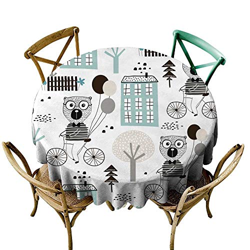 round tablecloth fitted Seamless childish pattern with cute bears bicycling in the city Creative kids texture for fabric wrapping textile wallpaper apparel Vector illustration D36