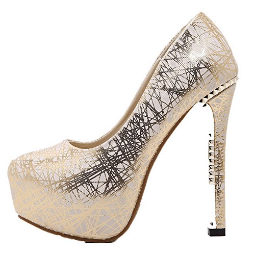 AmoonyFashion Womens Round-Toe Pull-On PU Solid High-Heels Pumps-Shoes Gold pT9BXCoecn