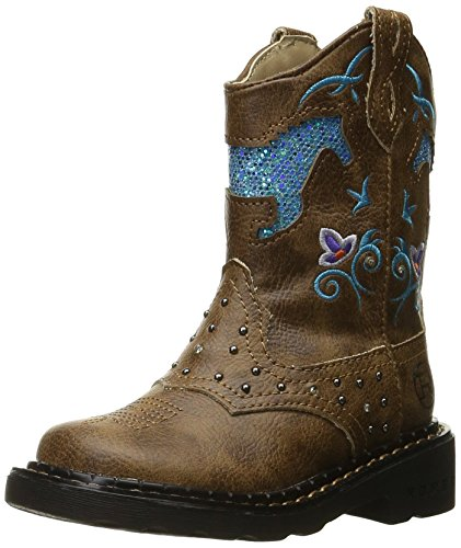 ROPER Girls' Horse Flowers Western Boot, Tan, 1 M US Little Kid]()