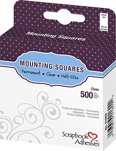 3L Permanent Mounting Squares, Half-Size, 1/2-Inch x 1/4-Inch, 500pk, Clear