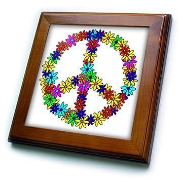 3dRose ft/_6310/_1 Peace Sign Flower Power Design Framed Tile 8 by 8-Inch