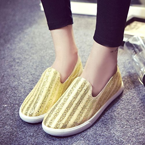 Slip Clode® Shoes Fashion Breathable Canvas Gold Sequins Women Casual Loafers Flats Flats CHqwAz