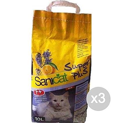 Sanicat Juego 3 Arenero Plus LT 10 perfumada para Gatos Mascotas