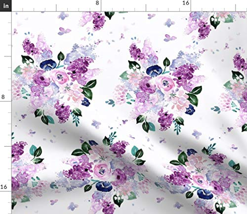 Lilac Fabric - Lavender Romance Purple Watercolor Floral Rose Baby Girl Flowers Bouquet Violet Print on Fabric by The Yard - Sport Lycra for Swimwear Performance Leggings Apparel Fashion