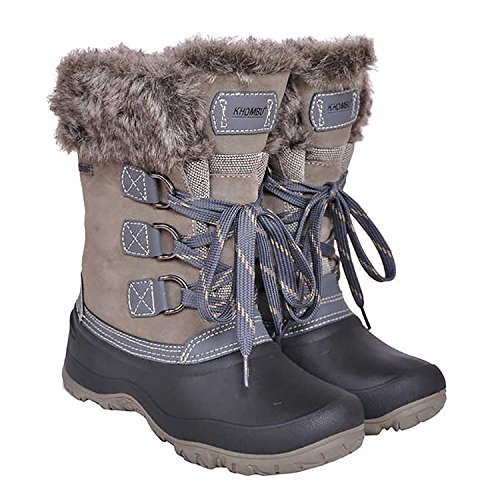 Khombu Womens Slope All Terrain Snow Boots (Grey, 6)