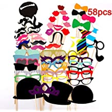 58 Pieces Photo Booth Props DIY Kit Dress-up Accessories for Wedding Party Reunions Birthdays (A)
