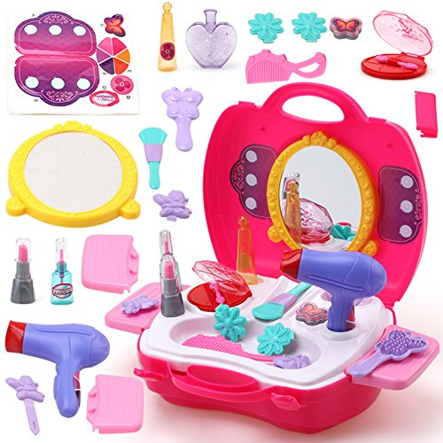 Lanlan Baby Girls Make Up Pretend Play Toy Portable Plastic Cosmetics Case Educational Toy Gift for Barbie Toys
