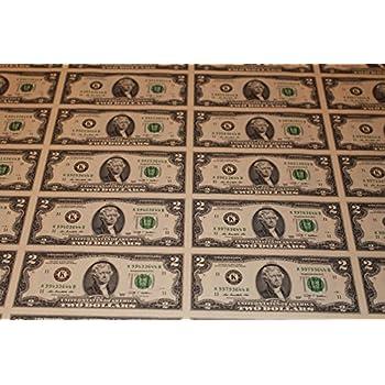 amazon com 2013 uncut sheet 32 subject two dollar bills united
